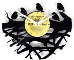 Zwarte Yesterdays Vinyl LP klok met vogeltjes - Vinyl wandklok - 12 inch - 30 CM
