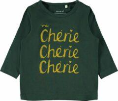 Donkergroene Name it Meisjes T-shirt - groen Gables - Maat 68