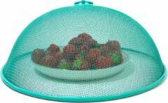 Lucy's Living Luxe Vliegenkap - Ø 30 x 12 cm – turquoise - foodcover - metaal - voedselkap - bescherming tegen vliegen - vliegenkapje - insecten – muggen