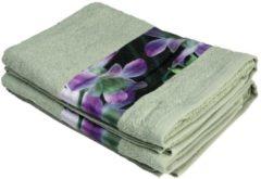 Cottonbelle Premium Duschtuch 2er Set, Orchideenbordüre