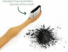 Bamboe Tandenborstel   Medium   Houten Eco Tandenborstel   Geactiveerde Houtskool Tanden Bleken   Antibacteriële Tandenborstel   100% Biologisch Afbreekbare Handgreep   1 Stuk   Bambaw