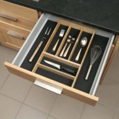 Antraciet-grijze Culinorm bestekbak hout met antislipmat - breedte 526 mm - diepte 473 mm.