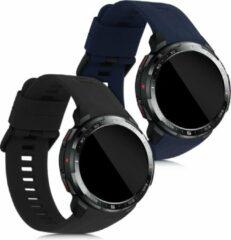 Kwmobile 2x horlogeband voor Honor Watch GS Pro - siliconen band voor fitnesstracker - zwart / donkerblauw