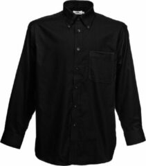 Fruit Of The Loom Heren Oxford-Shirt Lange Mouwen (Zwart)