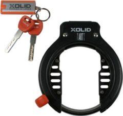 Xolid ART2 Frameslot - Gebruik Slot met Fiets - Bevestiging op Frame - met 3x Sleutel incl. 1x LED - Alternatief voor Ketting Ringslot Cijferslot Kabelslot Vouwslot Beugelslot - Fietsslot Afmetingen 12.8*16CM Ringslot Dikte 7.4MM - Zwart Oranje