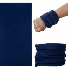 Marineblauwe Fako Fashion® - Microfiber Faceshield - Bandana - Nekwarmer - Sjaal - Uni - Navy Blauw