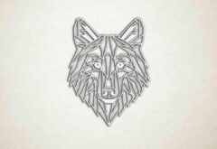 Emax Deco by Emax Lasers Line Art - Wolf 2 - M - 78x60cm - Wit - geometrische wanddecoratie