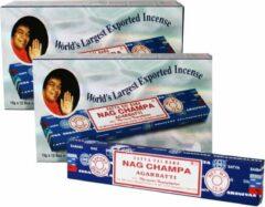Blauwe Satya Sai Baba 2 dozen Satya Nag Champa Agarbatti klassiek staafjes 2 dozen van 12 pakjes (15 gram per pakje ) wierook