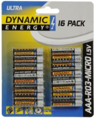 Dynamic Energy batterijen ultra R03 AAA zink 16 stuks