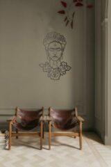 Zwarte Drart - Metalen Frida 80 cm x 65 cm - metalen wanddecoratie - metal Frida Kahlo