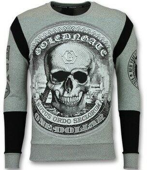 Afbeelding van Grijze T-Shirt Lange Mouw Golden Gate Rhinestone Trui Heren - Skull Dollar Sweater