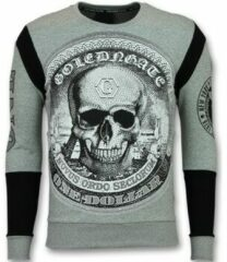 Enos Rhinestone Trui Heren - Skull Dollar Sweater - Grijs Sweaters / Crewnecks Heren Sweater Maat XS