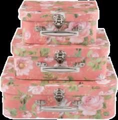 Decoratie koffer (set van 3) | 30*23*9/25*20*9/20*17*8 cm | Roze | Papier | Rechthoekig | Bloemen | Clayre & Eef | 63903