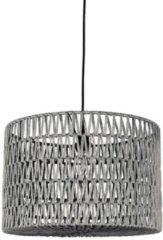 Grijze LABEL51 - Hanglamp Stripe - Geweven katoen - Grijs - 45x45x30 cm