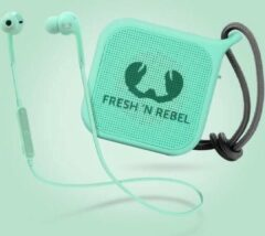 Blauwe Fresh n Rebel Fresh 'n Rebel – Vibe Wireless In-Ear Koptelefoon + Pebble Bluetooth Speaker Gift Pack – Mint Groen