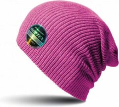 Result Warme gebreide Beanie wintermuts in het fuchsia roze voor volwassenen - Damesmutsen / herenmutsen - 100% polyacryl