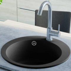 VidaXL Lavello da Cucina in Granito Vasca Singola Circolare Nero