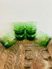 Moroccan Garden Traditionele beldi Espresso glas| Set van 6 | Handgemaakt | groen D6 H6