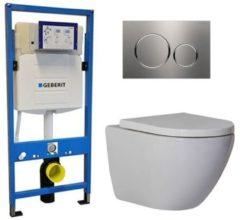 Douche Concurrent Geberit UP 320 Toiletset - Inbouw WC Hangtoilet Wandcloset - Shorty Sigma-20 RVS Geborsteld