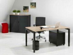 Kantoormeubelen.pro Luxe Bureau - 140x80 cm - Zwart onderstel - Robson Eiken blad