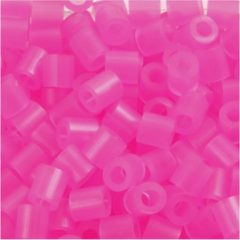 Creotime Strijkkralen, afm 5x5 mm, gatgrootte 2,5 mm, roze neon (30), medium, 6000stuks