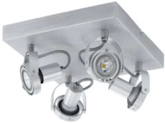 Grijze EGLO Novorio - Spot - 4 Lichts - LED - 270X270mm. - Aluminium-Geborsteld