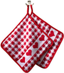 Set van 2 pannenlappen Hart Kracht rood