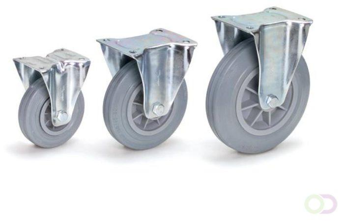 Afbeelding van Fetra Bokwielen 160 x 40 mm, Massief streeploos rubber wiel