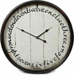 Teeninga Palmen Klokken - Wandklok 'geschreven Cijfers' Metaal Dia 50x13,5cm Zwart