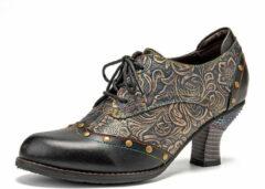 Zwarte SOCOFY Retro Splicing Embossed Printed Leather Heels Pumps