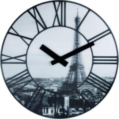 NeXtime La Ville - Klok - Stil Uurwerk - Rond - Kunststof - 3D effect Eiffeltoren - Ø39 cm - Zwart/Wit