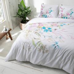Witte Presence - Lits-jumeaux Dekbedovertrek Flower Sketch 240x220 cm - Katoen - Dekbedovertrek met 2 kussenslopen
