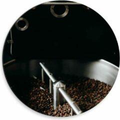 Grijze KuijsFotoprint Dibond Wandcirkel - Koffiebonenmachine - 30x30cm Foto op Aluminium Wandcirkel (met ophangsysteem)