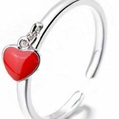 Charme Bijoux Ring- Rood- Hartje- Verstelbaar- Verzilverd- Vanaf maat 16 tot ongeveer maat 19
