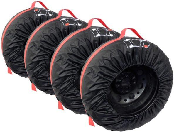 Afbeelding van Zwarte Carpoint Bandenhoezen 4 stuks - Voor de Opslag van Winterbanden en Zomerbanden - Bandenhoes - 13 tot 16 Inch