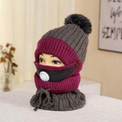 Knaak 3-1 Muts - Sjaal - Mondkap - Wol - Warm - One Size - Paars/Grijs