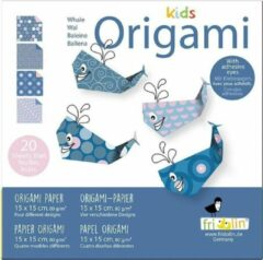 Fridolin Kids Origami: WALVIS 15x15cm, met zelfklevers, 20 bladen met 4 verschillende tekeningen en zelfklevers, 6+