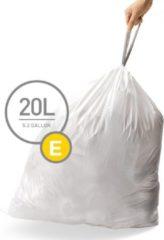 Witte Simplehuman Afvalzak Code E - 20 l - 20 stuks