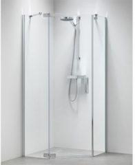 Douche Concurrent Douchecabine Sealskin Get Wet Custom Swingdeur Rechts Vijfhoek 100x100x195cm Zilver Hoogglans Helder Glas