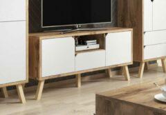 Perfecthomeshop TV Meubel Scandinavisch - Gold Craf Eiken & Mat Wit - 140x42x70 cm