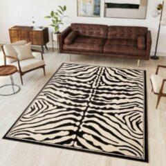 Tapiso Atlas PP Vloerkleed Woonkamer Slaapkamer Zwart Wit Zebra Modern Woonsfeer Design Interieur Hoogwaardig Duurzaam Tapijt Maat - 80 x 150 cm