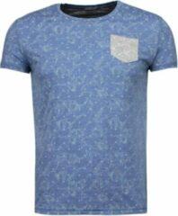 Black Number Blader Motief Summer - T-Shirt - Blauw Blader Motief Summer - T-Shirt - Groen Heren T-shirt Maat L