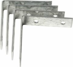 Bellatio Design 8x stuks stoelhoeken / drempelhoeken staal verzinkt - 40 mm - verbinden houten constructies - hoekankers / hoekverbinders / 4 x 4 cm