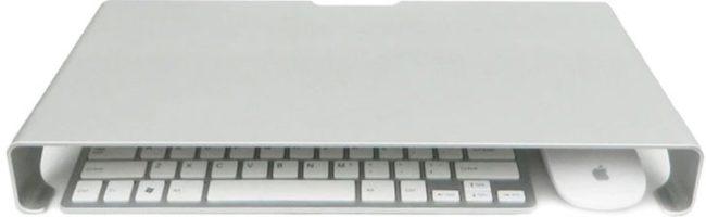 Afbeelding van QUVIO Laptop verhoger aluminium Space Grey - Laptopstandaard - 40 x 21 x 5cm - Mogelijkheid voor opbergen toetsenbord en muis - Grijs - Ergonomisch werken
