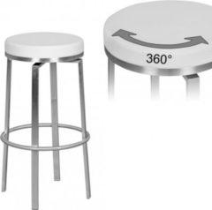 Wohnling Durable M8 Barhocker Edelstahl weiß Barstuhl modern Tresenhocker mit Beinen Design Hocker drehbar