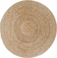 Naturelkleurige Hioshop Broom tapijt Ø120 cm, natuurlijk jute.