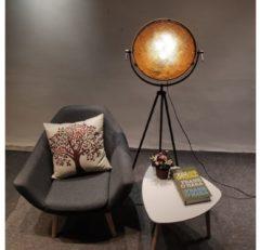 Groenovatie Nice Mesh Industrieel Design Tripod Vloerlamp Goud Zwart