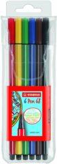 Rode STABILO Pen 68 - Premium Viltstift - Etui Met 6 Kleuren