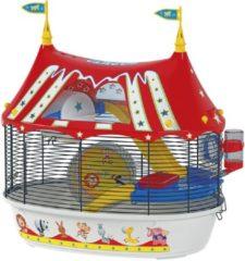 Ferplast Hamsterkooi Circus Fun - Dierenverblijf - 49.5x34x42.5 cm Wit Rood Zwart