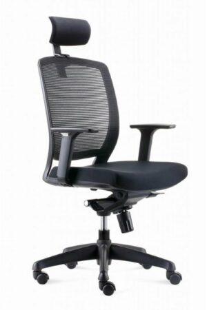 Afbeelding van Zwarte BenS 820DH Ergonomische bureaustoel met hoofdsteun. Model BenS 820DH